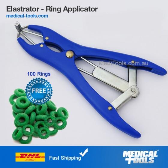 100 RINGS ELASTRATOR Castrating TOOL Rubber Ring Applicator CASTRATOR Docking